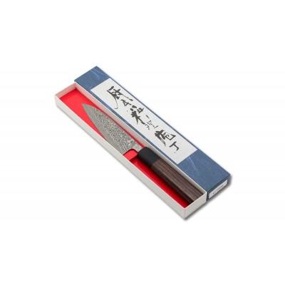 Shiro Kamo Powder Steel Damast Allzweckmesser 120mm Oktagongriff Verpackung