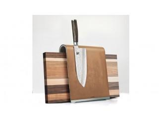 KAI magnetischer Messerblock + Schneidbrett SADDLE hellbraun