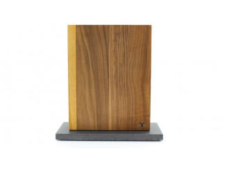 Magnet Messerblock Blockwerk 8er Nussbaum Stahlsockel grau beschichtet (anthrazit)