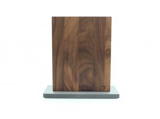 Magnet Messerblock Blockwerk 8er Nussbaum Stahlsockel blank gebürstet