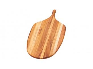 Teakholz-Servierbrett mit Griff und abgeschrägten Kanten 54,5x29x1,2cm