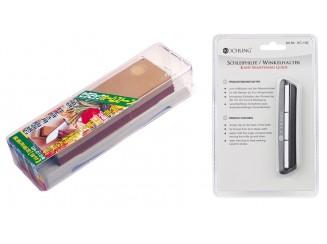 Naniwa Set Schleifstein Körnung #1000/#3000 und Kochling Schleifhilfe/ Winkelhalter